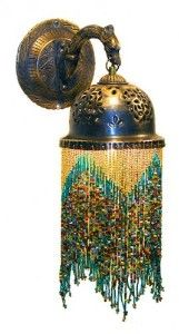 Middle Eastern Beaded Fringe Brass Wall Sconce Lamp #1