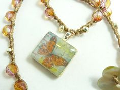 Beautiful crochet necklace with tangerine orange by BlueGateStudio, $46.00