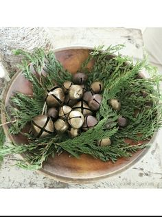 Rustic Christmas/winter - greenery in wooden dough bowl with rusty old jingle bells Primitive Christmas, Farmhouse Christmas Decor, Christmas Bells, Country Christmas, Simple Christmas, Winter Christmas, Vintage Christmas, Christmas Ideas, Merry Christmas