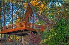 I just think this is an incredible little 1 bedroom A-frame cabin. I love the spacious deck, the abundance of windows, and the overa