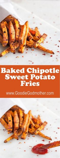 With less fat than a fried potato, these baked chipotle sweet potato fries pack a kick and make a delicious side dish or snack! * Recipe on http://GoodieGodmother.com
