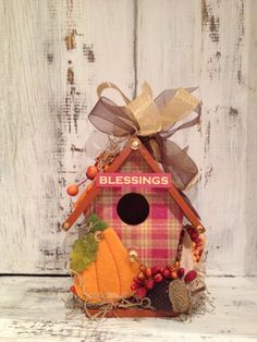 AUTUMN BLESSINGS  Handmade Wood Birdhouse by BirdhouseGiftGallery, $20.00