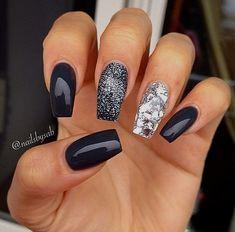 Nailsbysab - charcoal gray nails with glitter nails Popular Nail Colors, New Nail Colors, Nail Color Trends, Dark Colors, Winter Nail Designs, Nail Art Designs, Nails Design, Dark Nails, Gel Nails