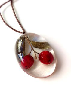 IFgal real cherry charm necklace handmade by IFgal on Etsy, $12.50