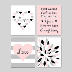 Heart Nursery Decor Heart Nursery Art Pink Nursery Art, Pink Nursery Decor Set of 4 Prints or Canvas Art Nursery, First We Had Each Other Nursery Canvas Art, Diy Canvas, Girl Nursery, Nursery Decor, Bedroom Decor, Prints, Etsy, Homemade Valentines, Valentine Box
