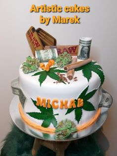 Cannabis cake by Marek Weed Birthday Cake, Money Birthday Cake, Funny Birthday Cakes, Special Birthday Cakes, Birthday Wishes Cake, Funny Cake, Adult Birthday Cakes, Cake Day, Eat Cake