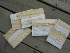 Buttons & Lace Fabric Post Cards - Perfect for wedding or anniversary cards! $16.00, via Etsy.