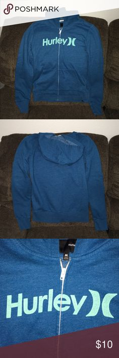 Hurley Blue/Seafoam Green Hooded Sweatshirt Sz Med Hurley Blue and Seafoam Green Hooded Sweatshirt Size Medium! This hoodie is in good condition But the lettering across the front has cracks in it. As shown in the third pic! No Trades! No Merc! Hurley Tops Sweatshirts & Hoodies