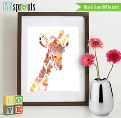 Watercolor Giraffe Print Watercolor silhouettes by InkSprouts