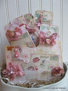 shabby chic wish you were HERE victorian postcards pocket full of tags handmade treat bag decoration gift