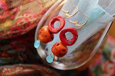 orecchini donna argento dorato corallo calcedonia