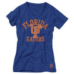 Florida Gators Women's Heather Royal adidas Originals Gym Class Tri-Blend Vintage T-Shirt