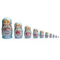 10 pieces russian nesting doll Hand made 10.5 inchs tall Red And Blue US Seller