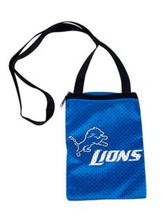 GAME DAY LIONS JERSEY POUCH  This Detroit Lions Game Day Pouch is made of jersey material and is a perfect way to carry your valuables to the game!