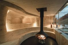 Sauna with fireplace