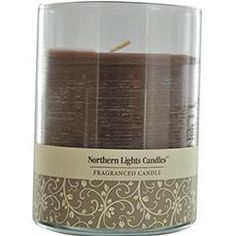 ONE 3x4.5 inch GLASS PILLAR ESSENTIAL BLENDS CANDLE. BURNS APPROX. 70 HRS. Design House: Chocolate Hazlenut Scented