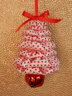 Items similar to Red Dots on White Yo Yo Tree Ornament on Etsy How To Make Christmas Tree, How To Make Ornaments, Christmas Design, Simple Christmas, Christmas Crafts, Fabric Christmas Ornaments, Easy Christmas Decorations, Christmas Trees, Christmas Sewing Projects