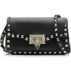 Valentino Small Leather Rockstud Shoulder Bag (12 580 SEK) ❤ liked on Polyvore