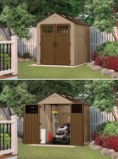 Big or small, store it all with this Suncast storage shed! Suncast Sheds, Suncast Storage Shed, Outdoor Storage Sheds, Shed Storage, Small Storage, Storage Room, Storage Ideas, Transom Windows, Windows And Doors