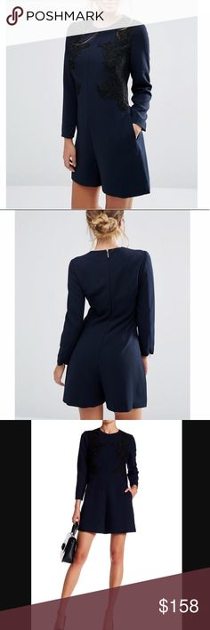 """Ted Baker Romper▪️NWT Beautiful navy blue AYSA playsuit/romper with black embroidered detail by Ted Baker▪️Has 2 front slash pockets▪️A hidden back zip with hook and eye closure▪️Hidden zips at the cuffs▪️Approx 34"""" in length▪️Size 1 (US 4)▪️NWT▪️Love this but just haven't worn it▪️Perfect for the Holidays▪️ Ted Baker London Pants Jumpsuits & Rompers"""