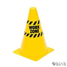 """Construction Party. 8"""" yellow """"Work Zone"""" Traffic Cones. Oriental Trading Co. $13.50 for 12"""