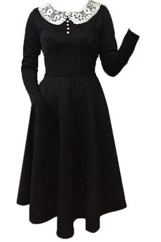 Noble Peter Pan Collar Long Sleeve Lace Spliced Dress For Women