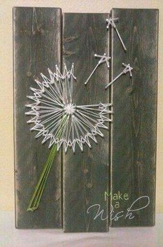 String art- How clever ! Love the barn board backing! - kim hagedorn String art- How clever ! Love the barn board backing! String art- How clever ! Love the barn board Cute Crafts, Crafts To Make, Arts And Crafts, Diy Crafts, Diy Art, Diy Wall Art, Arte Linear, String Art Patterns, Craft Night