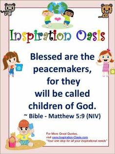Poster - Blessed Are the Peacemakers - - Free When You Signup for my Ezine at   http://www.inspiration-oasis.com/free-inspirational-posters.html