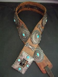 Navajo Silver and Turquoise Concho Belt Circa 1920's Sterling Old Pawn G023 | eBay