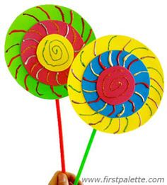 Learn about circles and sizes in this easy-to-make lollipop craft. Could use a colored paper plate and then add some different colored construction paper.