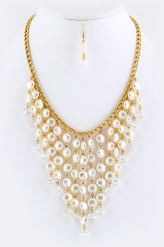 Last Piece :: Timeless Pearl Drop Necklace Earrings Set  - $21