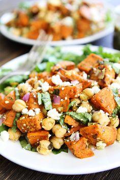 Sweet Potato Chickpea Salad with Pesto Recipe from @twopeasandpod