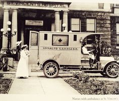 """From a book about the history of Birmingham (AL) in pictures. St. Vincent's Hospital, 1909. An ambulance, or """"invalid carriage"""" as it was called then!"""
