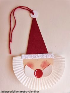 santa paper plate, paper, and string Kids Crafts, Preschool Christmas Crafts, Santa Crafts, Classroom Crafts, Christmas Activities, Holiday Crafts, Christmas Art For Kids, Noel Christmas, Christmas Projects