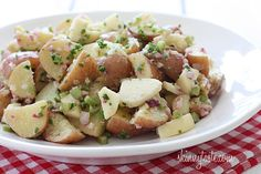 Summer Potato Salad with Apples - this is a perfect side for any backyard BBQ or picnic! Easy to double recipe!