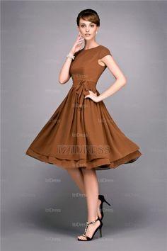 A-Line/Princess Bateau Knee-length Chiffon Bridesmaid Dress - IZIDRESSES.com at IZIDRESSES.com