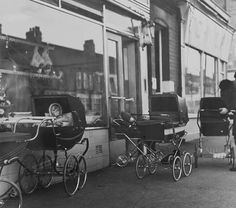 Manors Butchers, Chillingham Road, Heaton, Newcastle upon Tyne Look at all the prams outside the butchers! Old Pictures, Old Photos, Vintage Photos, Birmingham, Best Prams, Vintage Pram, Old London, My Childhood Memories, The Good Old Days