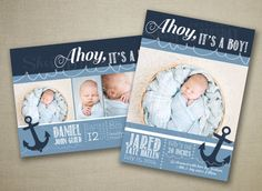 Ahoy, It's A Boy! Nautical Birth Announcement - Customized Card Template - Navy Blue - Waves - Anchor - Sailor - Ocean