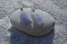 Blue Lace Agate Dangling Earrings