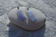 Blue Lace Agate Dangling Earrings