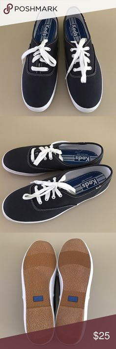 Keds Women's Champion Original In Navy New! Never worn! In perfect new condition Classic canvas upper 4 eyelet lace up sneaker Soft breathable lining Cushioned insole Flexible, textured rubber outsole. No box.              No trades Thank you Keds Shoes Sneakers