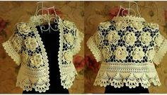 Bolero en crochet con flores en relieve