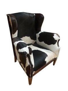 Cowhide Wingback Accent Chair
