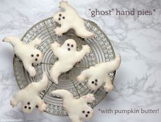"""halloween """"in the house"""": pumpkin butter """"ghost"""" hand pies Halloween Supplies, Halloween Themes, Fall Halloween, Ghost Cookies, Refrigerated Pie Crust, My Pie, Pumpkin Butter, Hand Pies, Mini Chocolate Chips"""