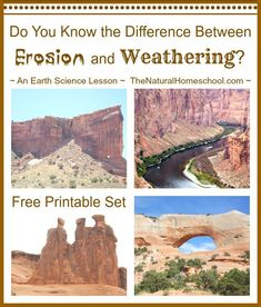 The Best Free Printable: What is the Difference between Weathering and Erosion? In this post, you will learn the difference between weathering and erosion. You will also can print out your free printable set to practice. Earth Science Lessons, Earth And Space Science, Science Activities For Kids, Science Curriculum, Science Resources, Science Classroom, Teaching Science, Science Education, Science Ideas