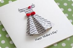 Home-made Mother's Day card using page from old book - Image courtesy of homemade-gifts-made-easy.com