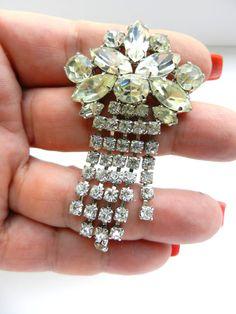 Ultra Glamor Rhinestone Pin Brooch Clear Crystals  by RAKcreations
