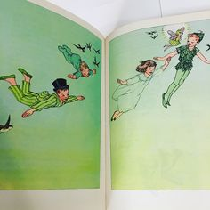 Flying Off to Neverland - Vintage Book Illustration - Peter Pan by J.M. Barrie