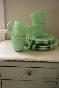 Jadite dinnerware set-I started collecting this before Martha made it so popular.