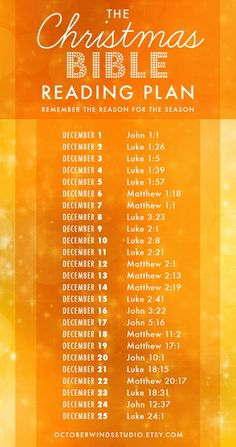 A Daily Christmas Bible Reading Plan with 25 short readings about the coming and birth of Christ. Remember the Reason for the Season! Complimentary Graphic by October Winds Studio | octoberwindsstudio.etsy.com | Original Plan by Alex Crain: